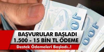 E devlet başvuruları başladı! Başvuran herkese anlık olarak 1500, 2500 ve 15 bin TL destek ödemesi yapılacak…